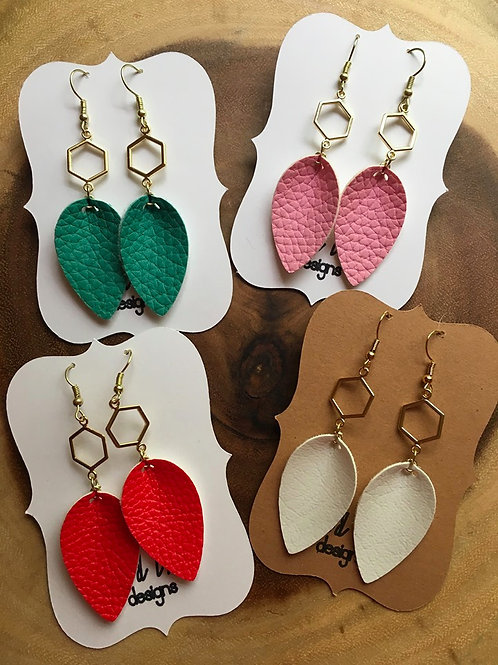 Pinched Petal Hexagon Earrings