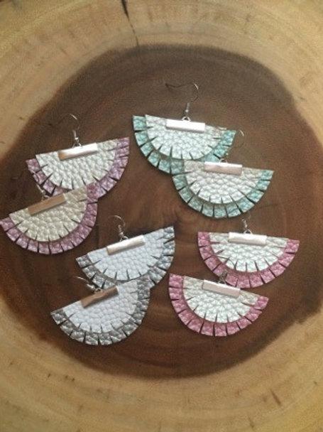 Pearly Boho Layered Fan Earrings