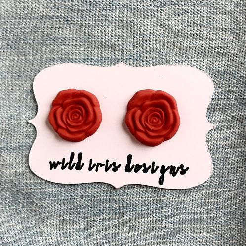 Red Rose Studs