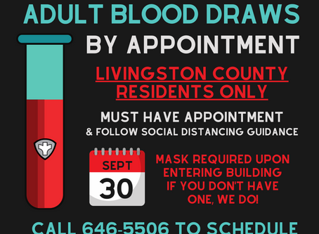 Adult Blood Draws by Appointment September 30th