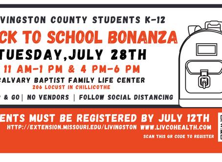 Back to School Bonanza Registration Open