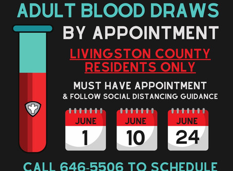 Adult Blood Draws in June By Appointment