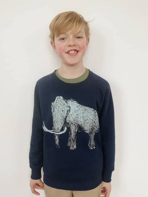 Organic Mammoth Unisex Kids hand screen printed Jumper