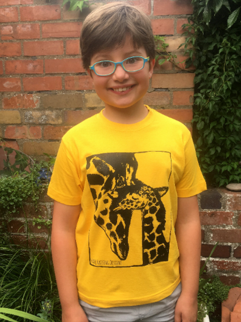 Sunflower Yellow Giraffe hand screen printed Kids t-shirt