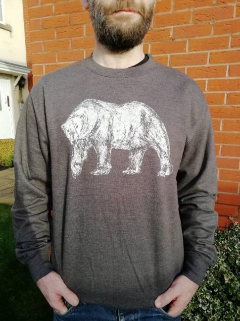 Grey Polar Bear Unisex Adult hand screen printed Sweater