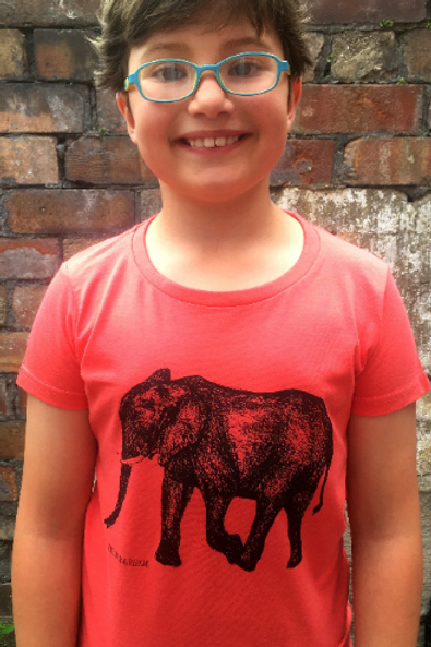 Coral Elephant hand screen printed Kids t-shirt
