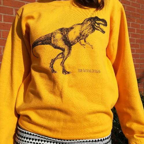 Golden Yellow T-Rex Unisex Adult hand screen printed Sweater
