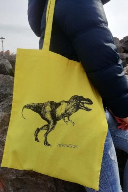 T-Rex Dinosaur long handled hand screen printed tote bag