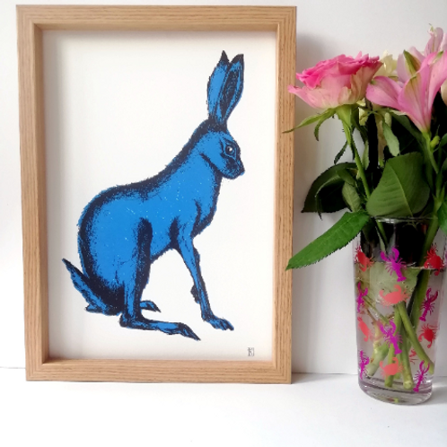 Unframed A4 Blue Hare Giclée Print