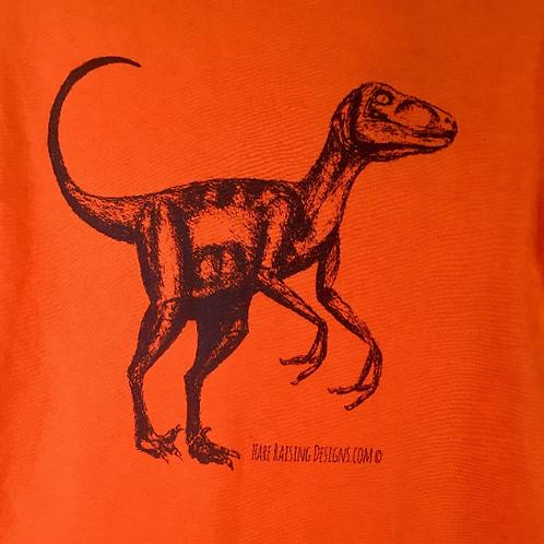 Organic Unisex Velociraptor Dinosaur hand screen printed t-shirt