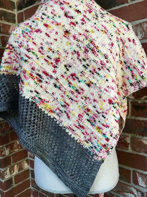 Graffiti Shawl Digital knitting Pattern Speckled Yarn