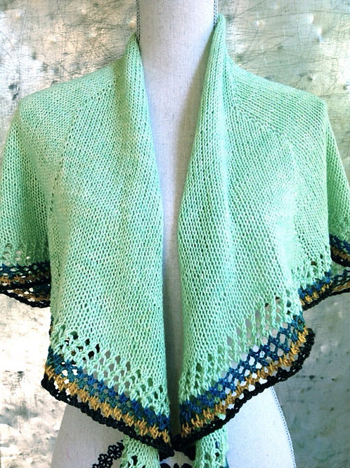 Hand Knit Mint Crescent Shawl - Summer Wrap, Prayer Shawl