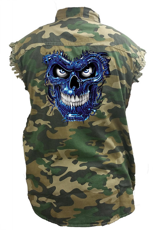 Men's Camo Sleeveless Denim Shirt Terminator Skull Blue Denim Vest