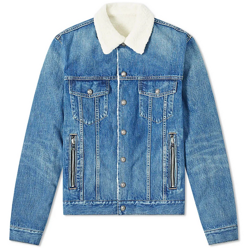 Balmain Shearling Denim Trucker Jacket