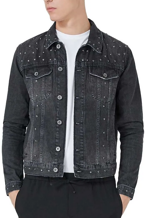 Topman Studded Trucker Jacket