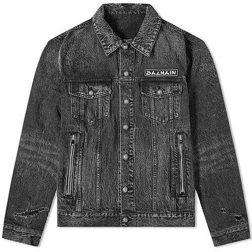 Balmain Signature Patch Denim Trucker Jacket