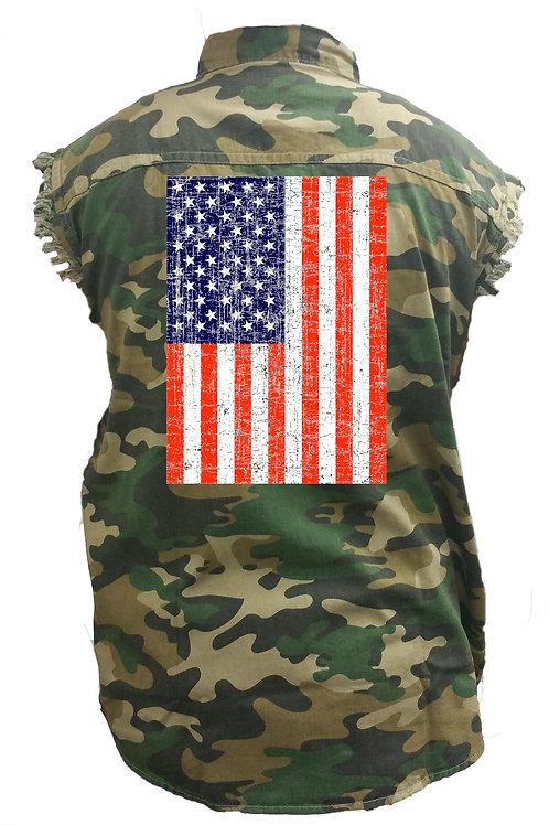 Men's Camo Sleeveless Denim Shirt Distressed USA Flag Denim Vest