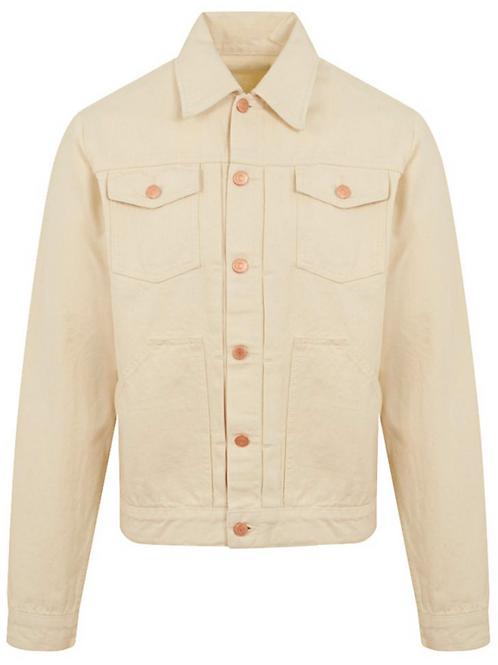 The Workers Club - Cream Japanese Selvedge Denim Trucker Jacket