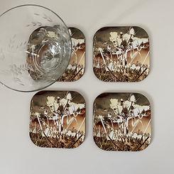 brown seedhead art coasters