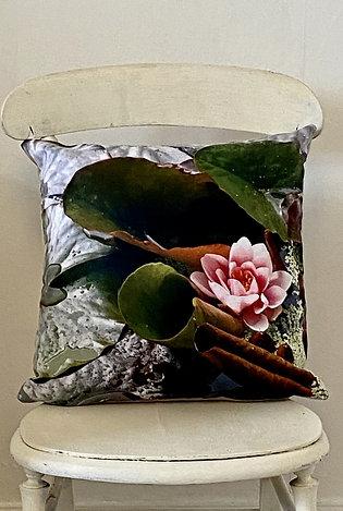 Botanical range cushion Lilypad Vegan suede