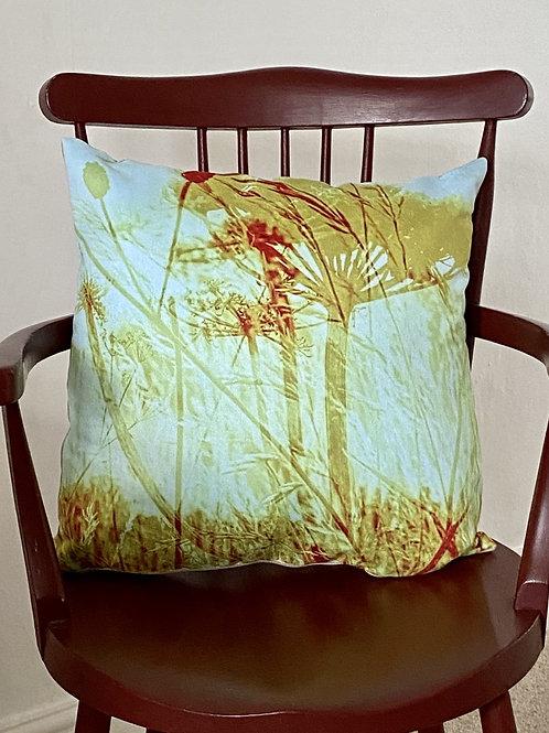 Common Lane blue seedhead cushion in Vegan suede