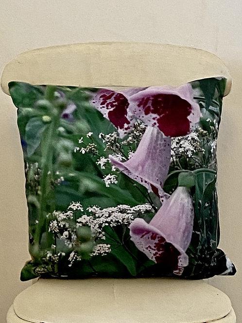 Botanical range cushion Foxglove Vegan suede