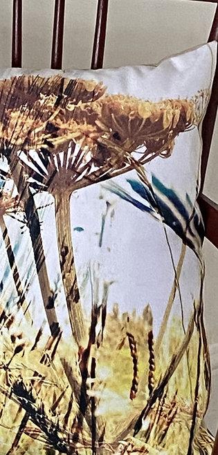 Common Lane brown seedhead cushion in Vegan suede