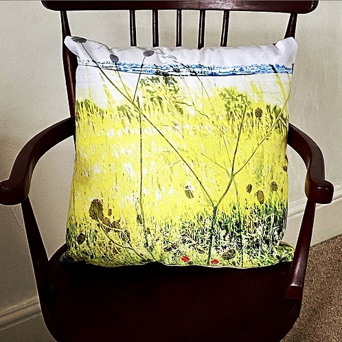 Common Lane yellow cushion Vegan suede