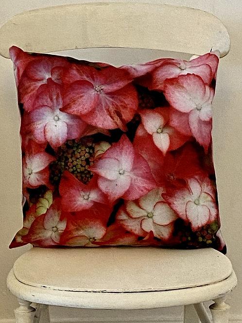Botanical range cushion Hydrangea Vegan suede