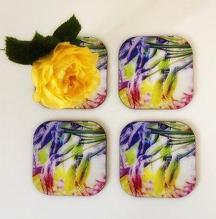 Agapanthus art coasters x 4
