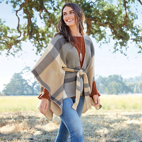 Monica Plaid Tie-Waist Poncho in Taupe