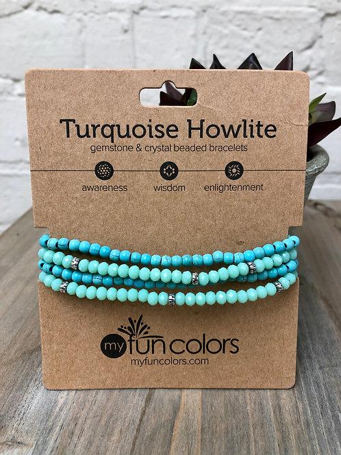 Turquoise Howlite Gemstone & Crystal Bracelet Set