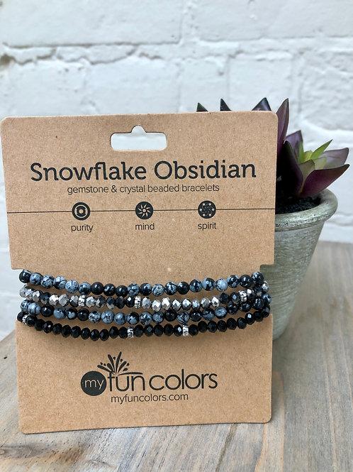 Snowflake Obsidian Gemstone & Crystal Bracelet Set