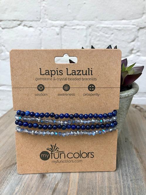 Lapis Lazuli Gemstone & Crystal Bracelet Set