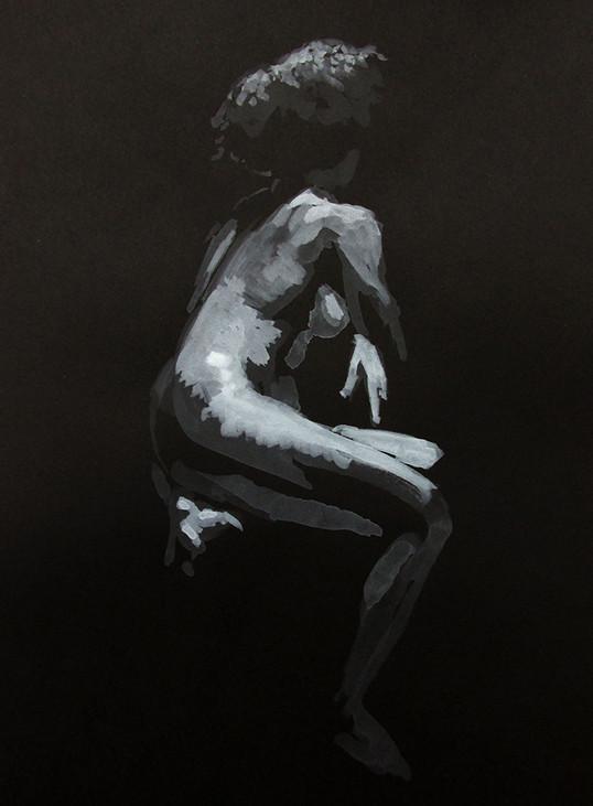 Estudo de figura-humana c/modelo 25x35cm aguarela branca sobre papel preto 2019