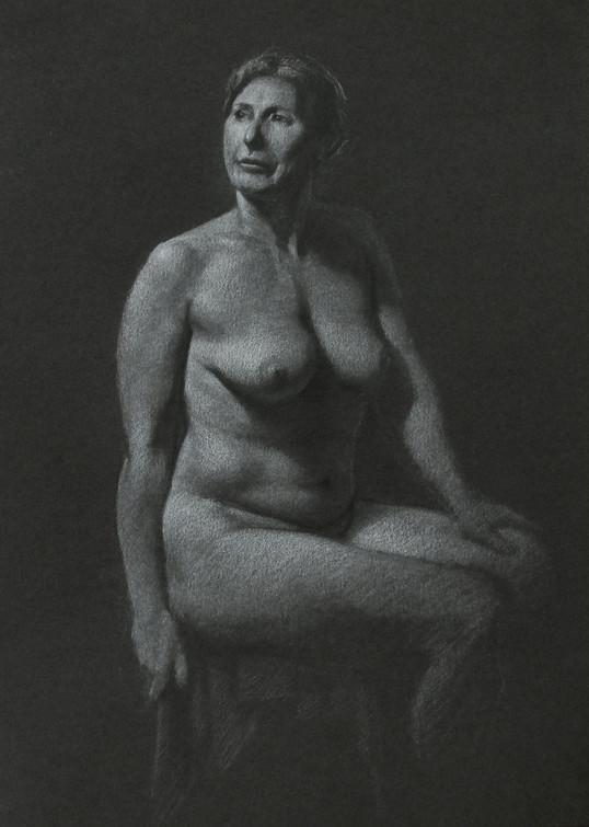 Estudo de figura-humana c/modelo A4 - grafite e pastel branco 2014