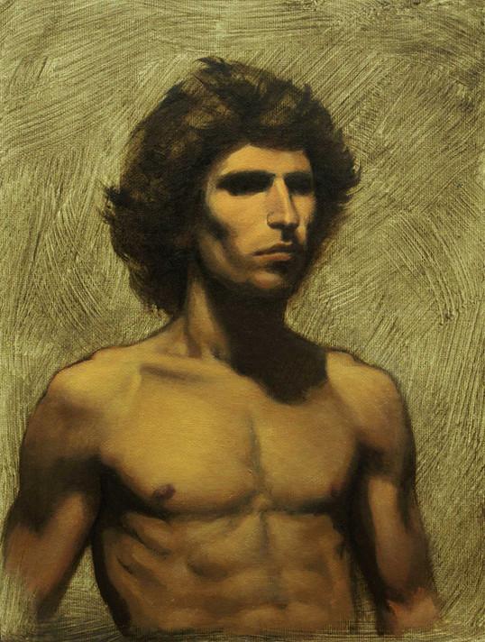 Estudo de figura-humana c/modelo 18x24cm óleo sobre tela 2011