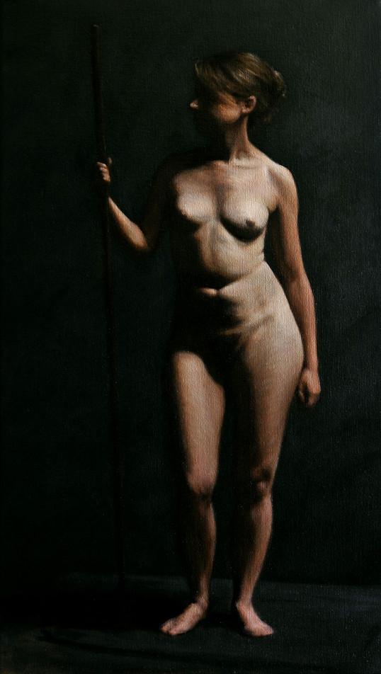 Estudo de figura-humana c/modelo 40x70cm óleo sobre tela 2011