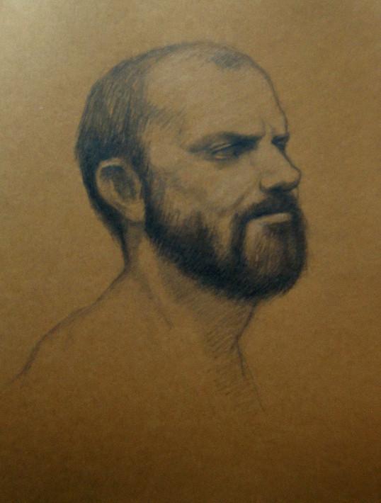 Estudo de retrato c/modelo, A4 grafite sobre papel de cor, 2011