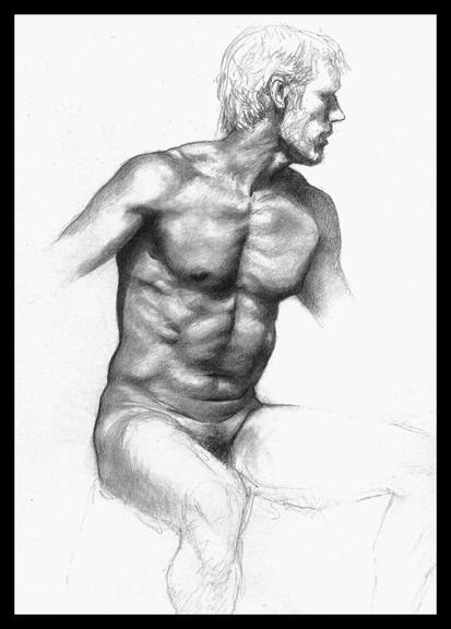 Estudo de figura-humana c/modelo A5 - grafite 2008