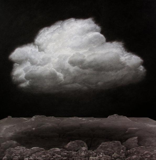 Nuvem sobre paisagem 150x150cm óleo sobre tela 2018