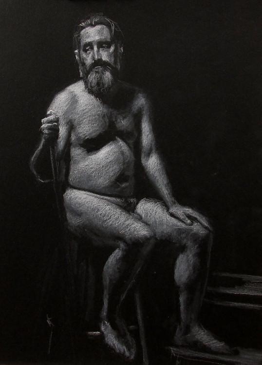 Estudo de figura-humana c/modelo 25x35cm pastel branco sobre papel preto 2016