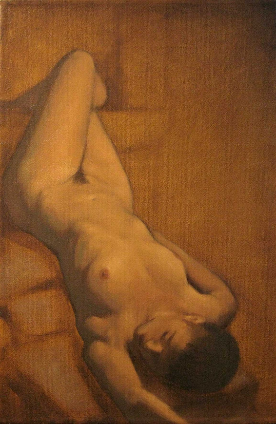Estudo de figura-humana c/modelo 20x15cm óleo sobre tela 2010