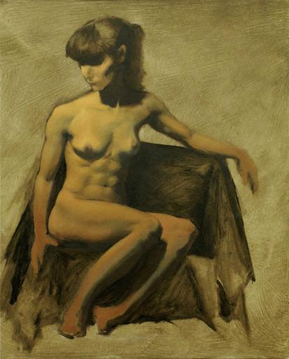 Estudo de figura-humana c/modelo 24x30cm óleo sobre tela 2011