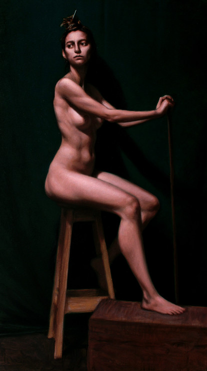 Estudo de figura-humana c/modelo 40x70cm óleo sobre tela 2017