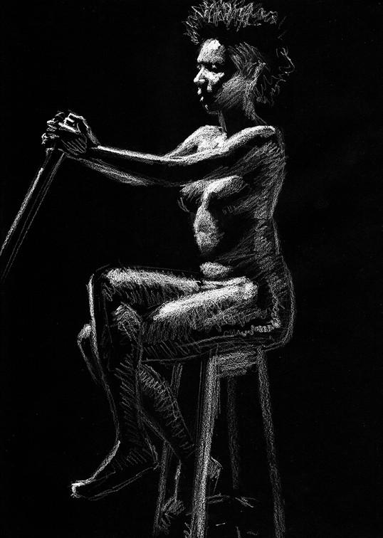 Estudo de figura-humana c/modelo 25x35cm pastel branco sobre papel preto 2019