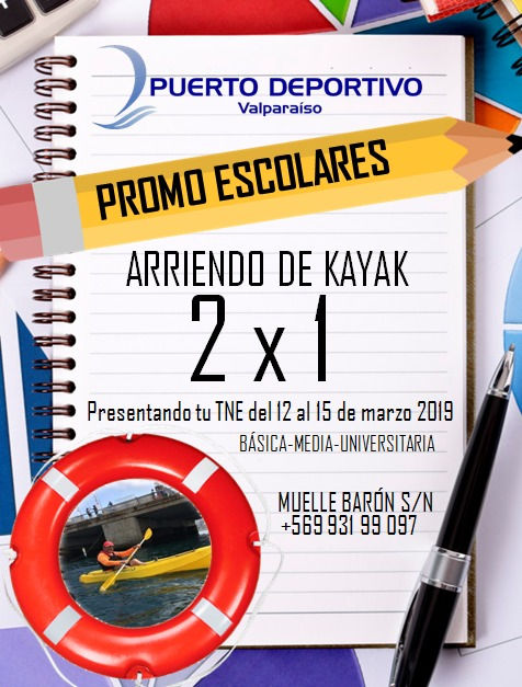 promoción escolares 2x1arriendo kayak 2019