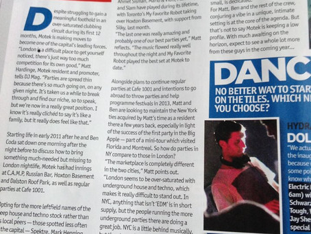 Press: Full-page DJ Mag feature