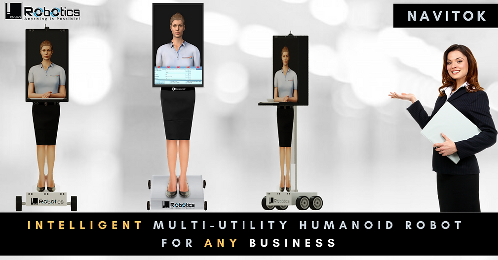 NaviTok | Multi-utility Intelligent Interative Autonomously Navigaing Humaod Robot for Businesses
