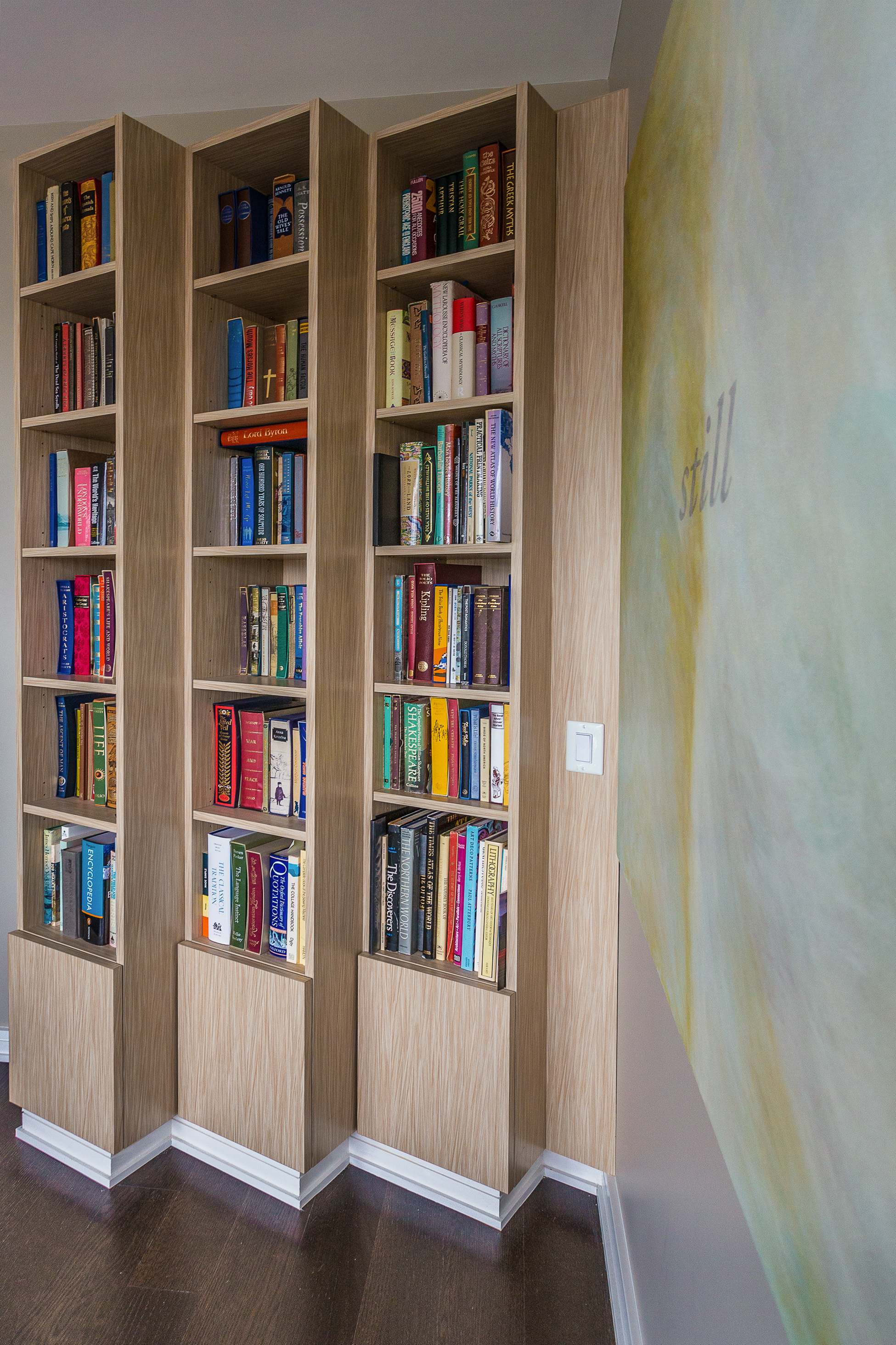 Angled Bookcase Millwork